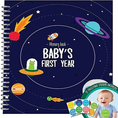 Baby's First Year Memory Book With 12 Stickers Space Edition