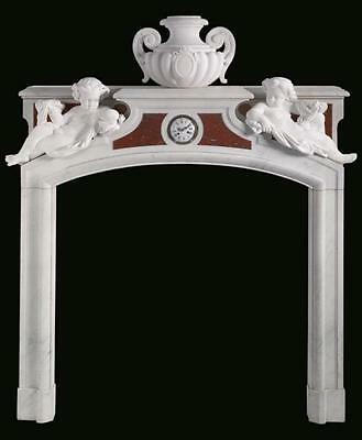 Antique French Neoclassical Rouge and White Marble Fireplace Surround