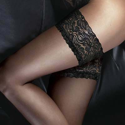 10 Denier Sheer and Ultra Gloss Luxury Deep Floral Lace Top Hold Ups Couture New