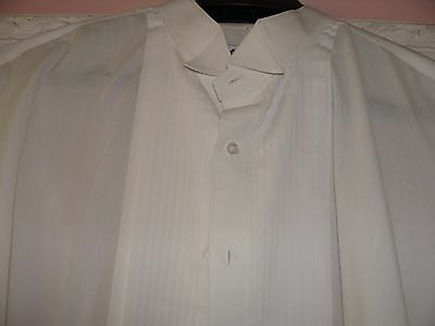 MENS White Pleated Formal Tuxedo Shirt WING TIP Collar size 2XL