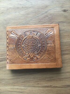 Vintage Leather Mexican Wallet Mayan Calendar Hand Tooled Tan