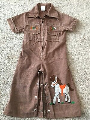 Vintage 1960's 1970's Kids Coverall Koverall Play suit Short Sleeve 18 Months