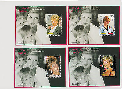 Princess Diana of Wales 8 Souvenir Sheets from Somalia All Unused Very Nice |