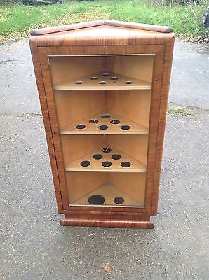 Walnut Glazed Corner Drinks Display Cabinet Cupboard