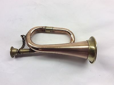 Small Vintage Copper And Brass Hunting Bugle Horn 14.5cm