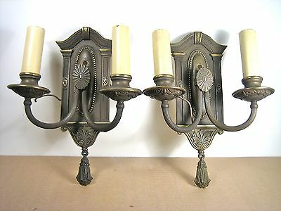 Neoclassical Lighting Brass Wall Sconces Caldwell era double light clean pair