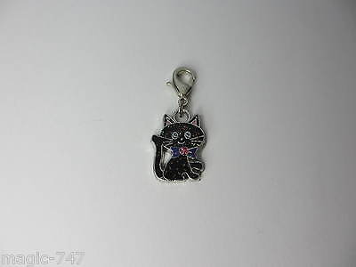 Clip on Cat Collar Charm - Lucky Black Sparkly Kitten with Pink Crystal Bow Tie