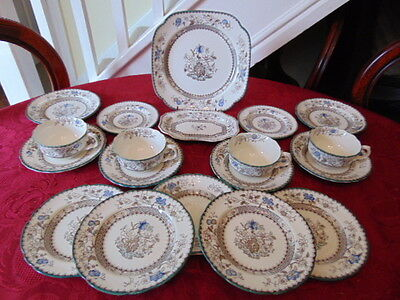 Copeland Spode Chinese Rose (2nd Quality) Tea Set (19 Pieces) In Good Condition