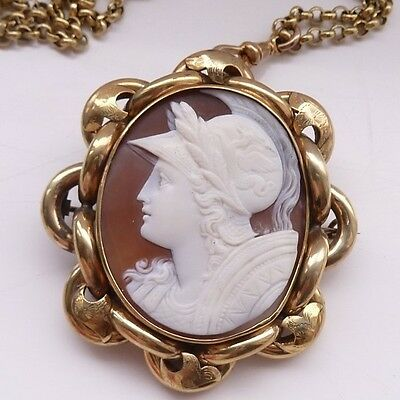 Large Fine Antique Cameo Athena Brooch Pendant Pinchbeck Rear Memorial Glass