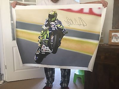 ORIGINAL HAND PAINTED VALENTINO ROSSI 120cm X 80cm CANVAS. SIGNED. STUNNING.