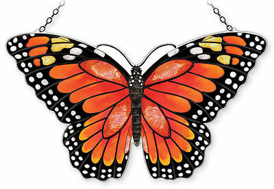 """Amia Stained Glass 18.5"""" X 12"""" Monarch Butterfly Large Window Panel #42341"""