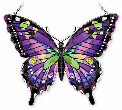 """Amia Stained Glass 18.5"""" X 12"""" Purple Swallowtail Butterfly Window Panel #42342"""