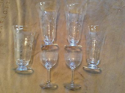 Lot of 6 Vintage Clear Glass Etched Parfait and Wine Glasses