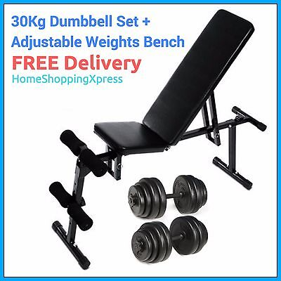 Adjustable Weight Bench 30Kg Dumbbell Weights Set Home Gym Incline Decline Flat
