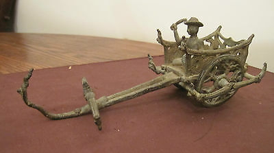rare ancient China cast bronze chariot rickshaw horse carriage figure child toy