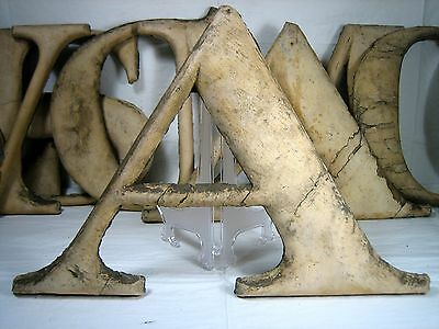 "antique wooden letter ""A"" large size old paint over gold, theater marquee 17x12"""