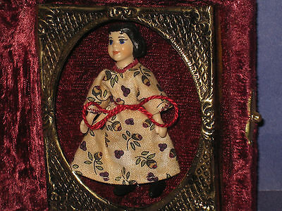 DeAnn Cote Miniature Hitty Doll Resin UFDC in Velvet Tintype Case  8J2