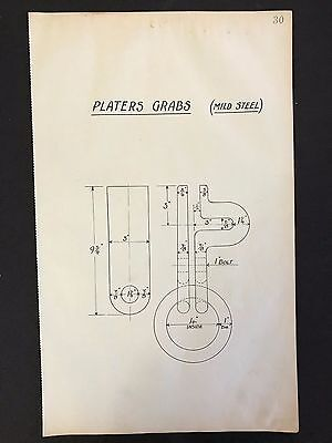 Harland & Wolff, Belfast -1930's Engineering Drawing PLATERS GRABS (P30)