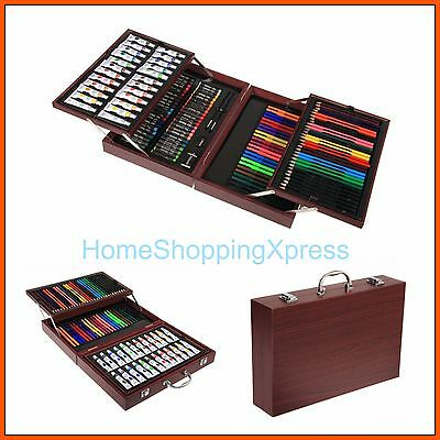 DELUXE Art Set Wood Case Painting Drawing Pencils Craft Pastels Storage Box Gift