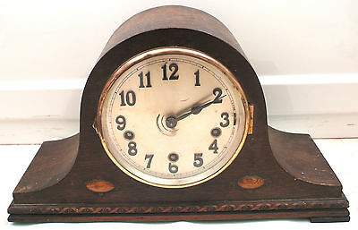 "Westminster Chimes British Napoleon Hat Shape Oak Case Mantle Clock 9""H"