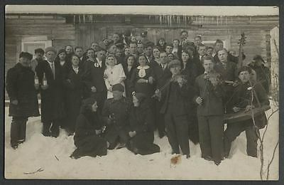 Latvia c.1910-1920 RPPC AK Wedding Party Group, with Musicians on Instruments