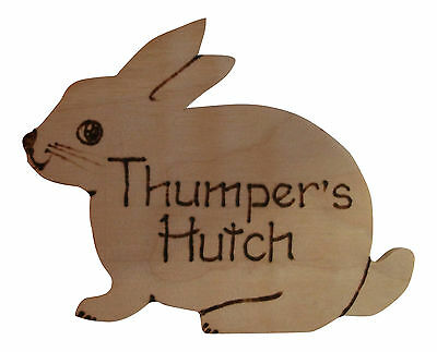 Personalised wooden Rabbit plaque for Hutch or child's bedroom