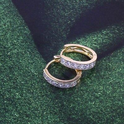 """9ct 9K Yellow & White """"Gold Filled """" White Stones Small  Hoop Earrings. 14mm"""