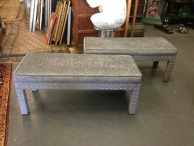 1960s Pair of Newly Upholstered Benches Milo Baughman Parsons Style Mid Mod