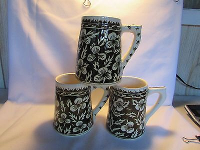 Vintage Hand Painted MOROCCAN Set of 3 Glazed Earthenware Mugs Or Tankards