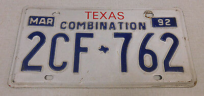 1992 Texas combination license plate