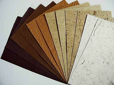 12pcs.HANDMADE THICK SAA MULBERRY WRAPPING PAPER SCRAPBOOK CRAFT BROWN TONE