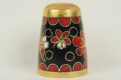 Beautiful Black and Red Cloisonne Thimble - Sewing Collectibles