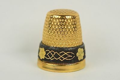 Vintage Gold Tone Thimble With Black & Gold Etch Band - Sewing Collectibles
