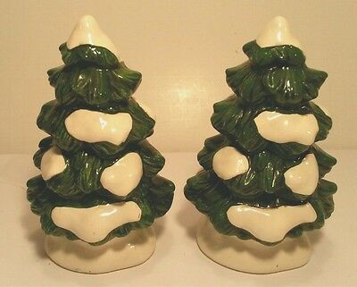 Set TWO Vtg LEFTON Christmas Village Winter Trees Hand Painted 1987 Pair 06465