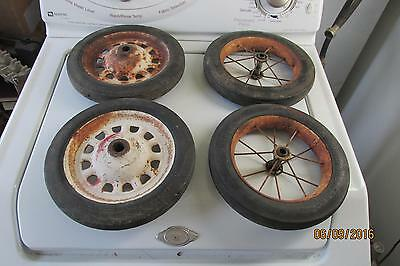 4 Antique Baby Buggy Wheels 2 Clipper Puncture Proof,2 Hamilton Wheels