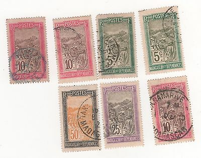 1908 MADAGASCAR ( French Colony ) TRANSPORT stamps x 7 incl duplicates  USED