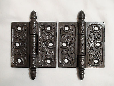 Pair of Antique Victorian Eastlake Cast Iron Door Hinges 3x3""