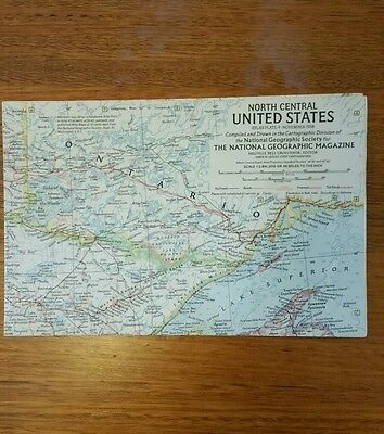 Original 1958 National Geographic Map NORTH CENTRAL UNITED STATES