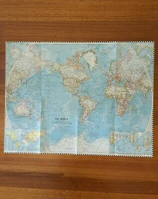 Original 1960 National Geographic Map of THE WORLD