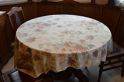 """Oval Fall Leaves Tablecloth 60"""" x 80"""" Tan Brown Multicolor"""