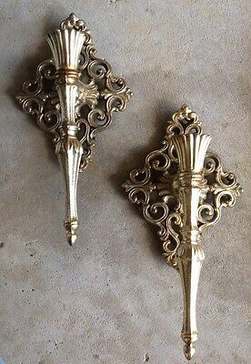 Vintage Heavy Wall Mount Candle Holders Sconce Metal Gold