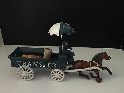 Vintage Antique Cast Iron Horse and 'Transfer' Vegetable Cart