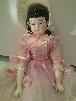 """19"""" China Head Doll, Porcelain head, hands and legs, cloth body"""