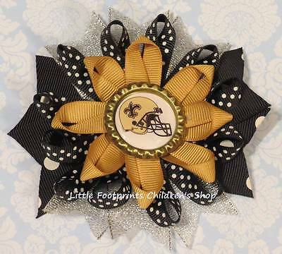 Hot NEW ORLEANS SAINTS Black Gold Silver Bottle Cap Loopy Bow 4 $3.16