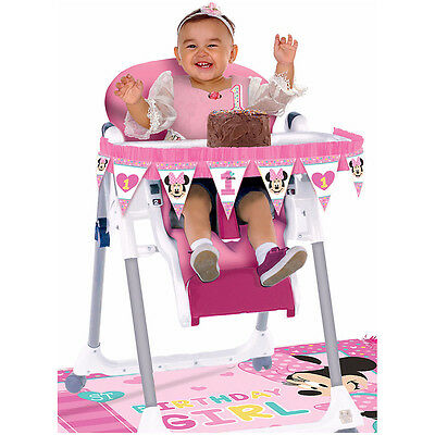 Baby Minnie First Birthday High Chair Decorating Kit 1st Party Supplies