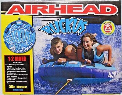 "AIRHEAD RUCKUS 2 Person 60"" Towable TUBE Kwik Connect Tow System ~ NEW!"