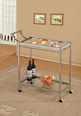 eHomeProducts Chrome Metal Bar Tea Wine Holder Serving Cart With Tempered Glass