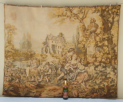 "Vintage Large Noble Pastorale Wall Hanging/Tapestry (70"" x 54"")"