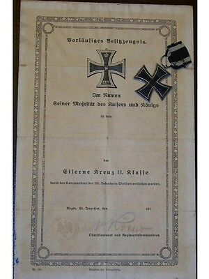 Germany WWI Iron Cross EK2 DIPLOMA Decoration Military Merit 1914 1918 Mkr KO