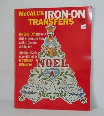 McCall''s Iron On Transfers machine  Embroidery Christmas Book Vintage 1976